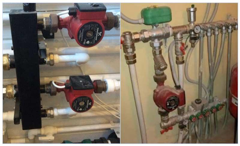 Установка насоса для системы отопления