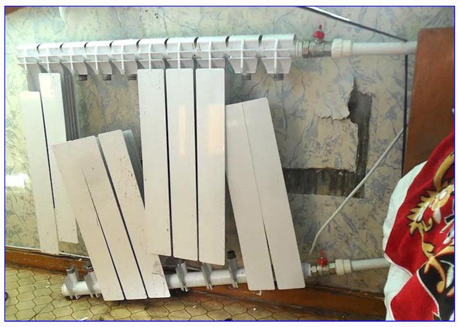 Пример некачественного биметаллического радиатора