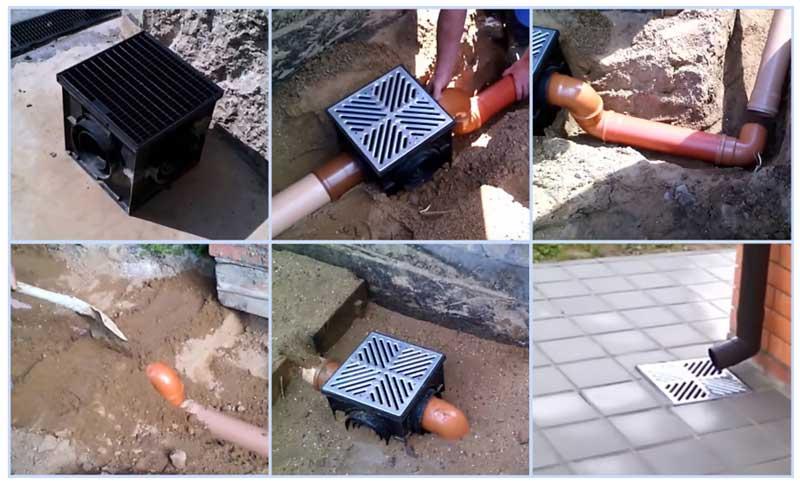 Монтаж дождеприемника для ливневой канализации