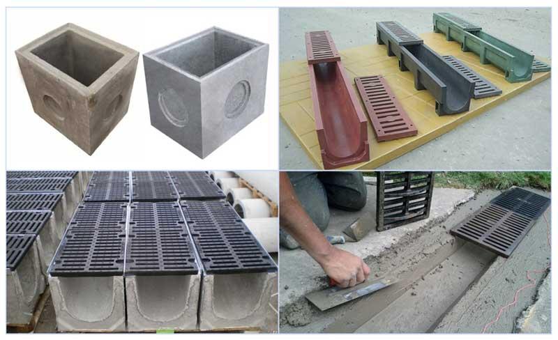 Конструкции дождеприемников для ливневой водосточной системы из бетона