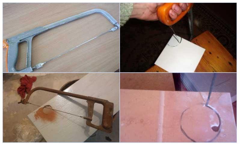 Сверление плитки под трубу струнами
