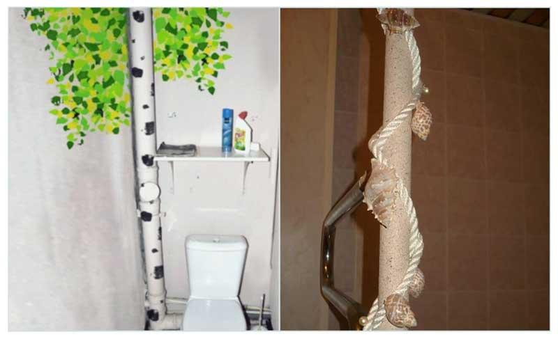 Декорирование труб в туалете