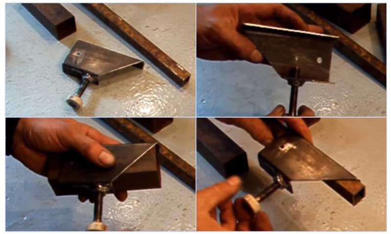 Резка трубы под углом при помощи стусла
