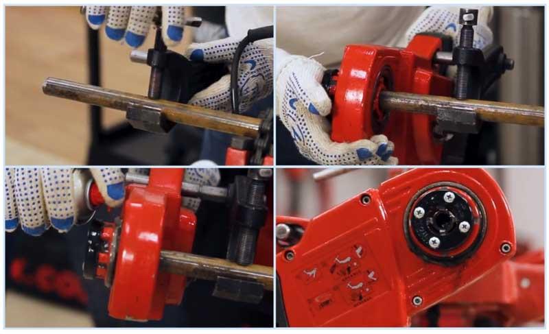 Электрический трубный резьборез в работе
