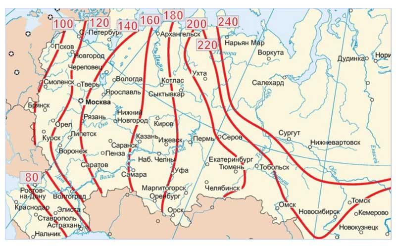 Карта промерзания грунта России