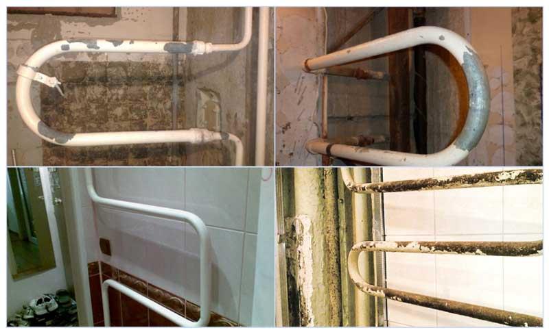 Примеры монтажа старого полотенцесушителя в однотрубной и двухтрубной системе