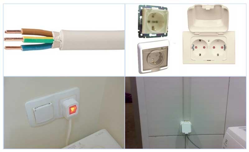 Розетка и кабель для подключения стиральной машины