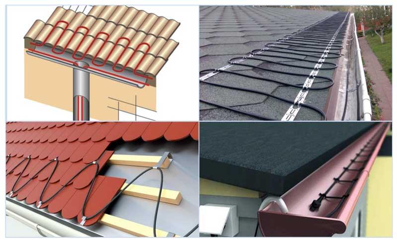 Нагревающий кабель на крышах и в водостоках