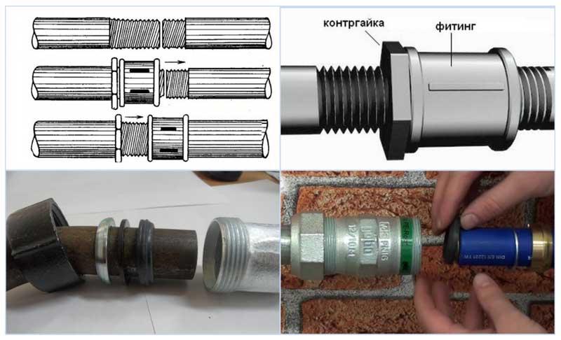 Методы стыковки труб сгоном и муфтой Гебо