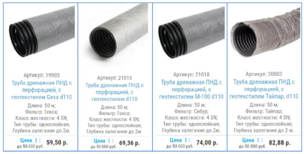 Цена дренажной трубы с геотекстилем