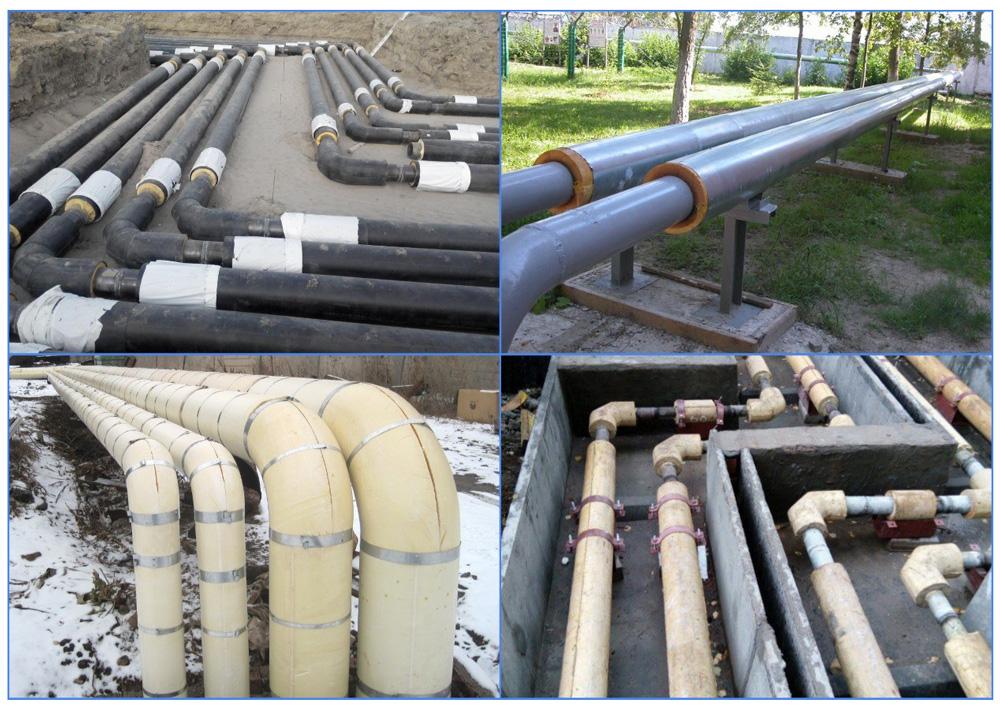 Скорлупа для труб из пенополиуретана на трубопроводных магистралях