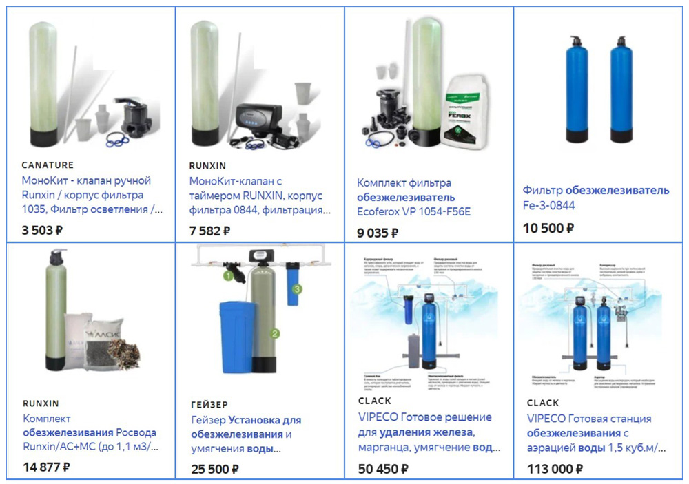 Цена на оборудование для обезжелезивание воды из скважины