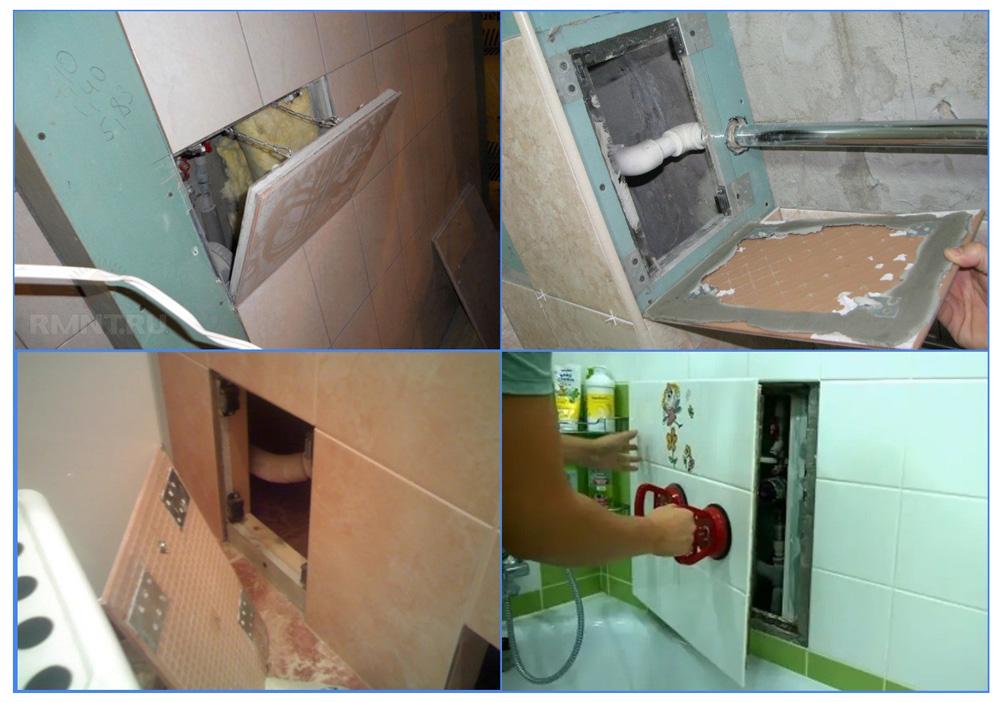 Самодельные лючки в коробе для труб в ванной