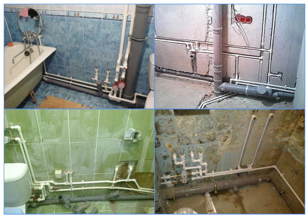 Открытые трубы в ванной