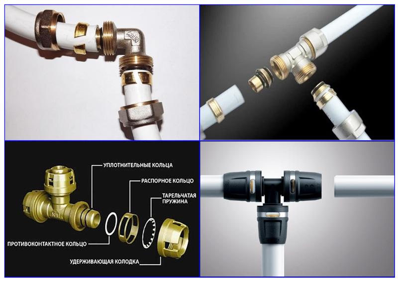 Компрессионные и пуш-фитинги для металлопластиковых труб