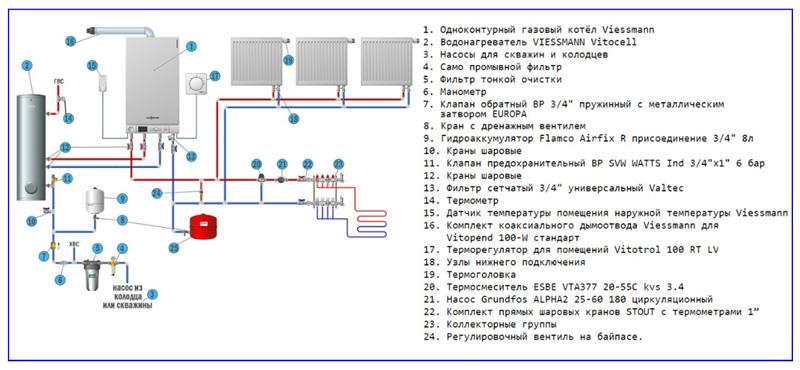 Схема подключения к газовому котлу Viessmann бойлера косвенного обмена