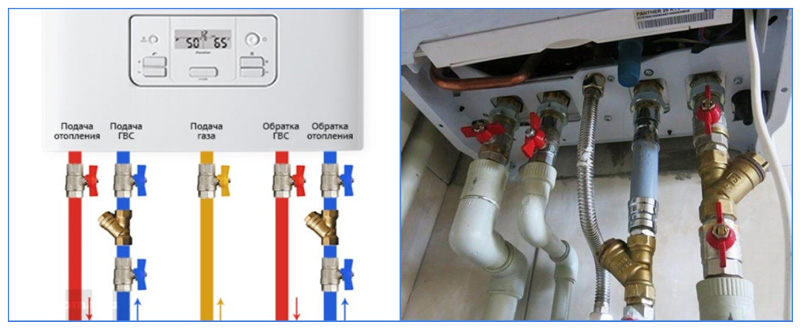 Шаровые краны для подключения котла к системе отопления