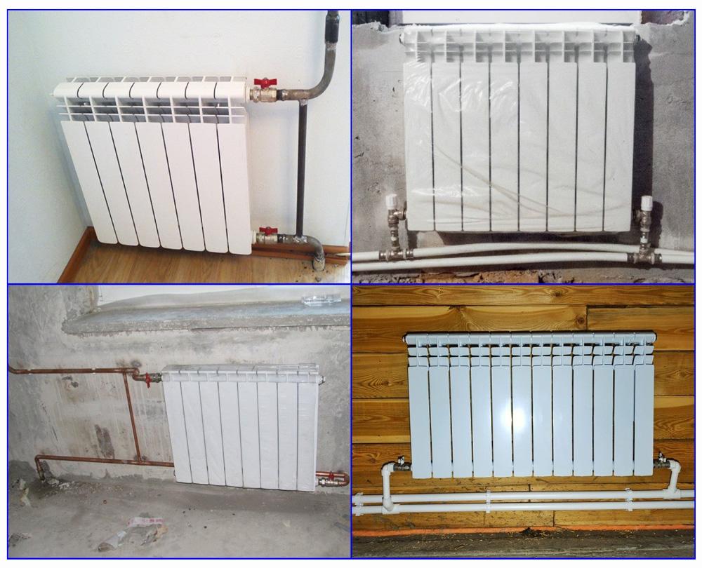 Примеры подключения батарей к трубам из разных материалов