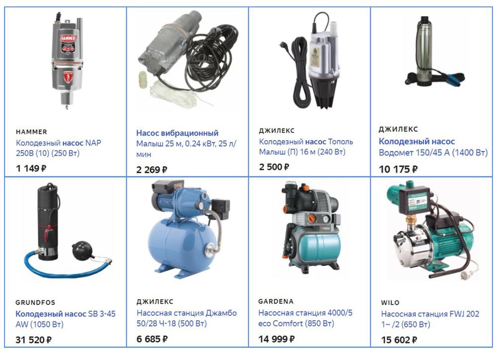 Стоимость популярного насосного оборудования для водозабора из колодцев