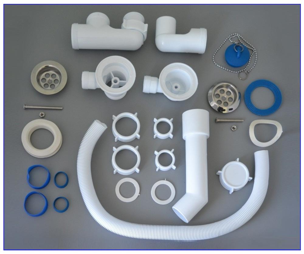 Детали сифона с ревизией для подключения ванны к канализации