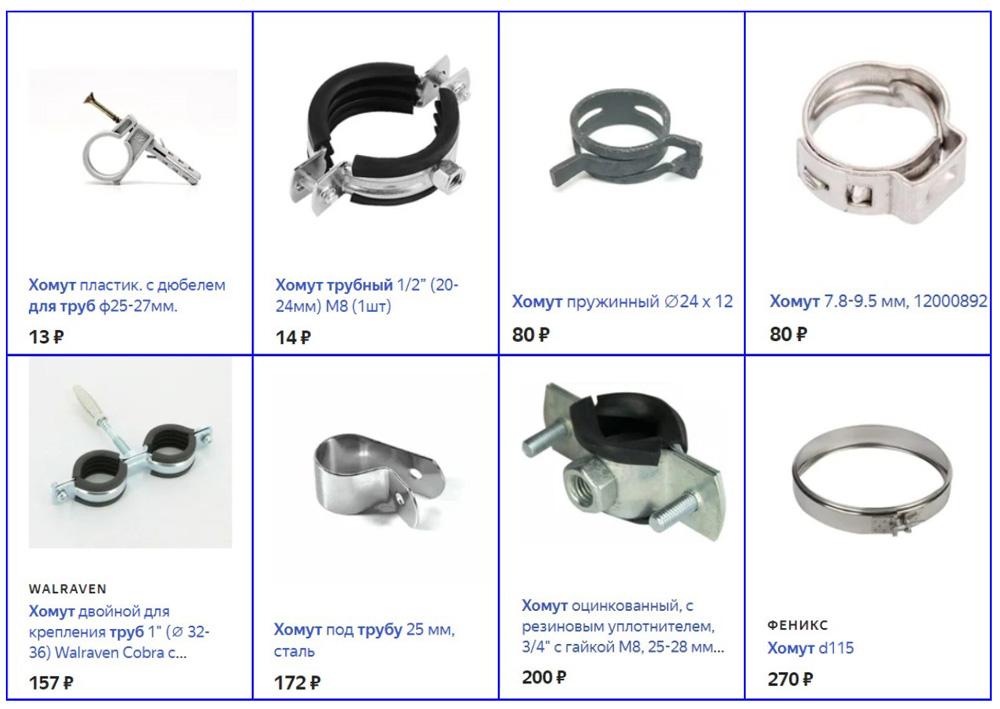 Стоимость разных видов стальных хомутов для крепления труб