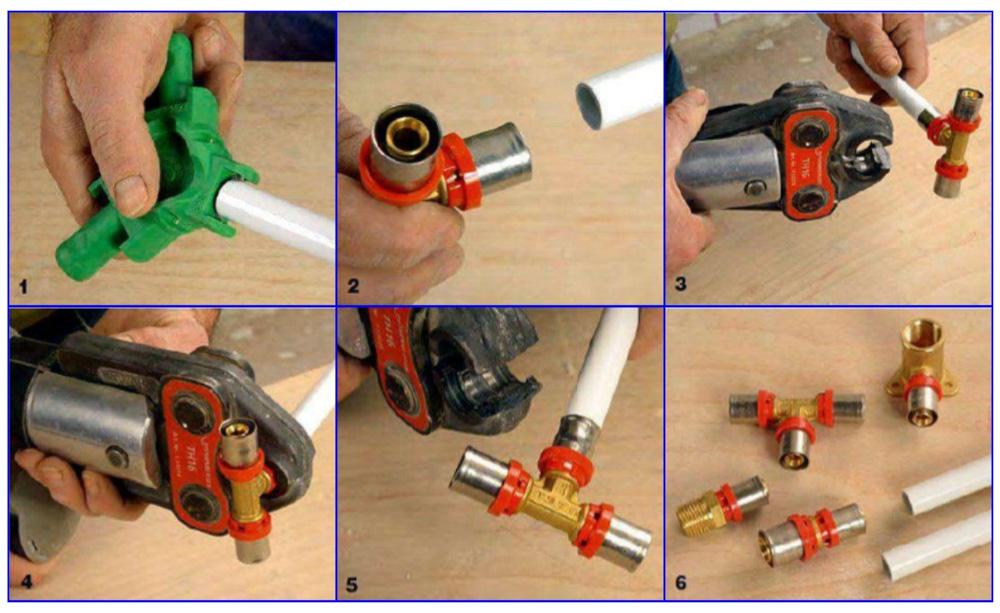 Монтаж металлопластиковых труб с использованием пресс-фитингов.