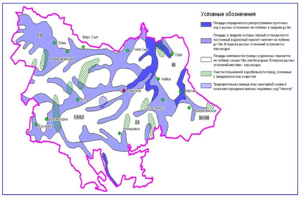 Схематичная карта подземных вод (пример).