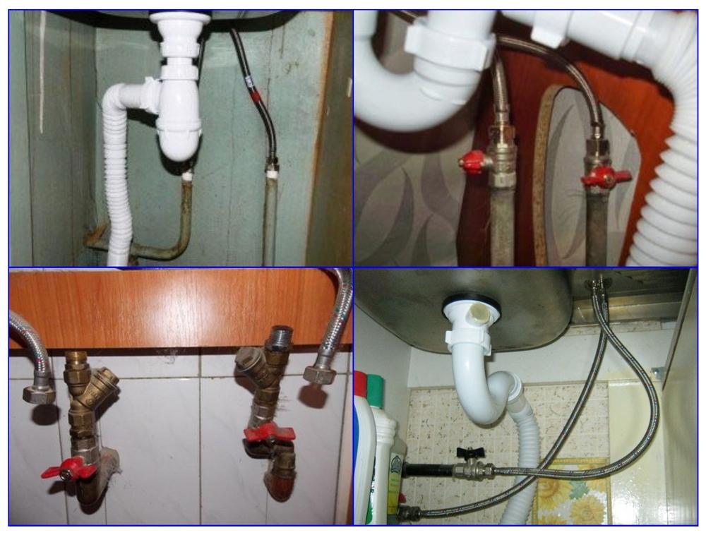 Соединение кухонного смесителя с металлическим трубопроводом.