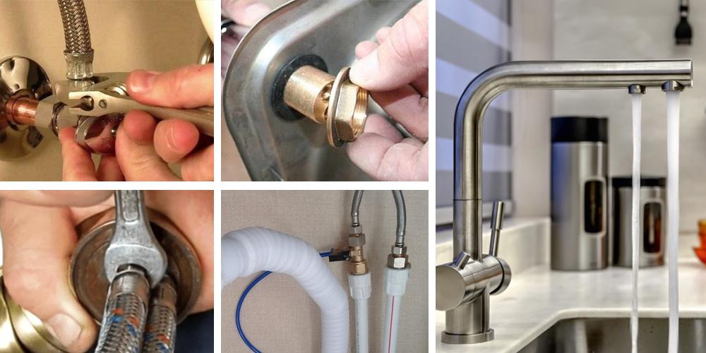 Как подключить смеситель на кухне к водопроводу.