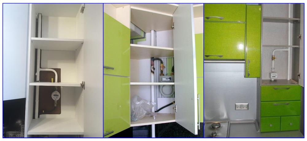Примеры размещения газопровода и приборов учета на кухне за встраиваемой мебелью.