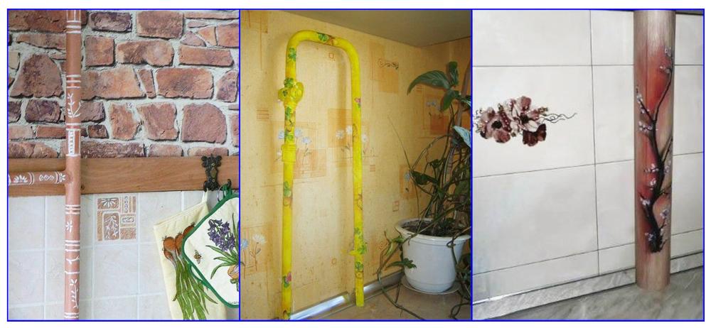 Примеры декорирования газовой трубы на кухне рисунком.