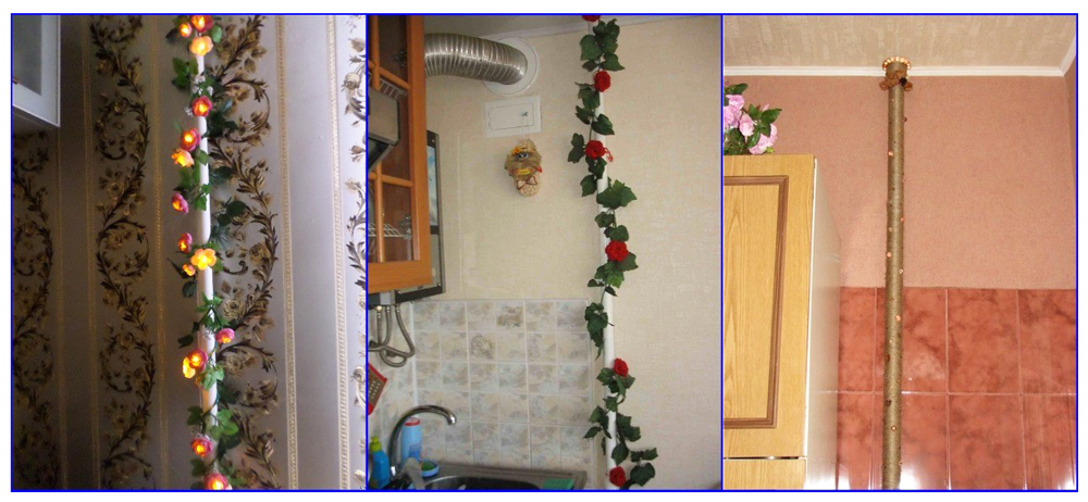 Варианты различного декорирования газовой трубы на кухне.