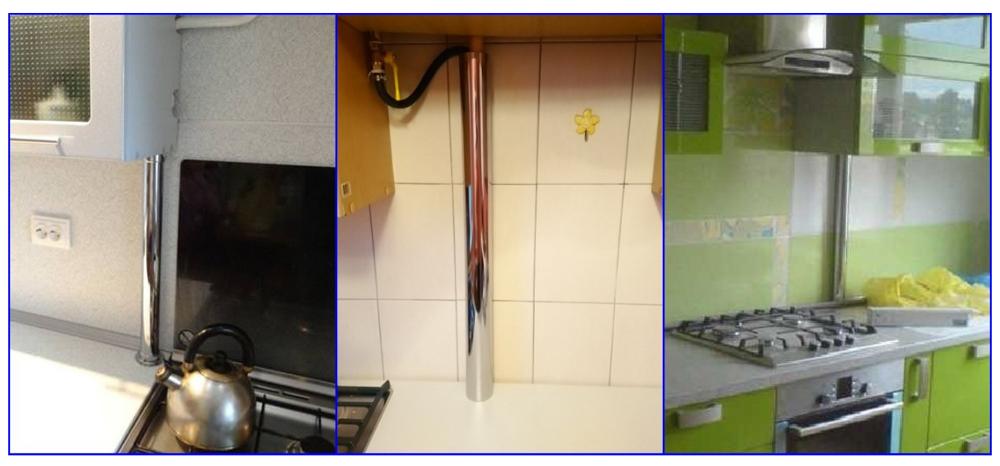 Участки газовой трубы на кухне, скрытые в хромированных трубах.