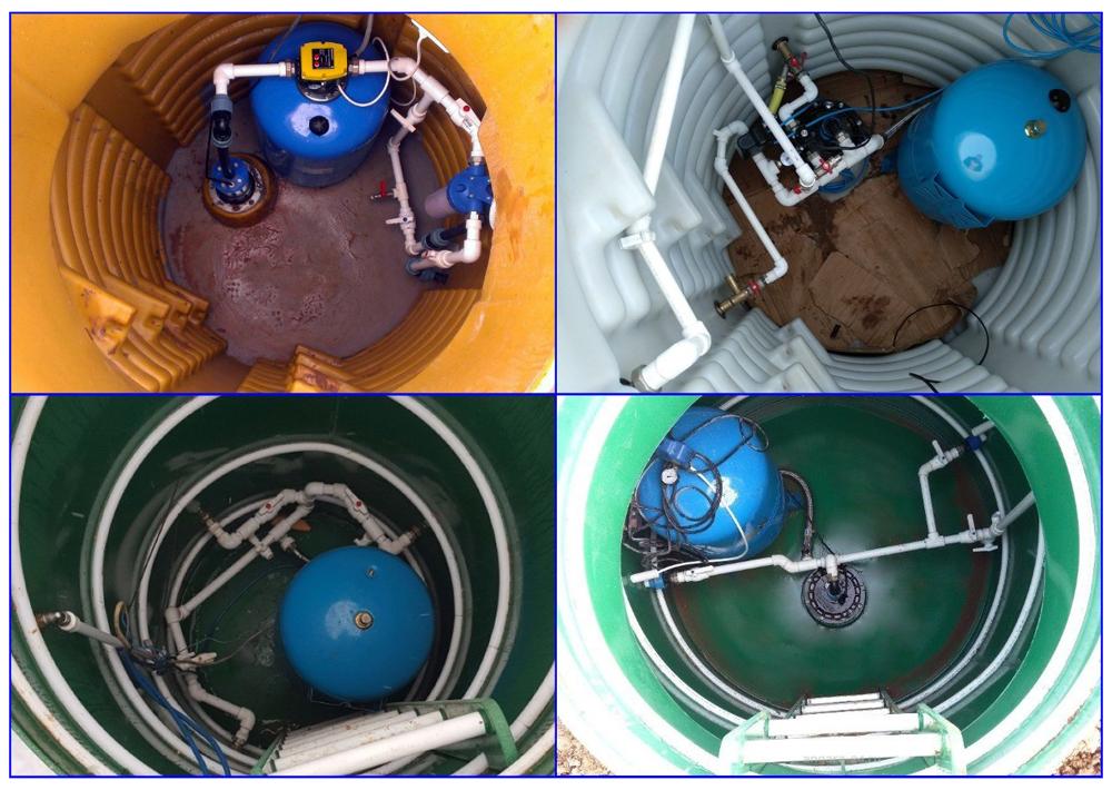 Примеры внутреннего устройства и разводки оборудования в полимерных кессонах.