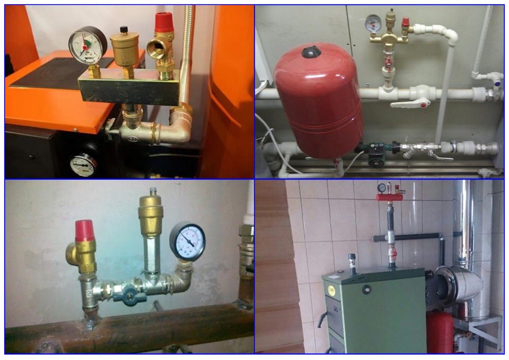 Группа и система безопасности для отопления закрытого типа.