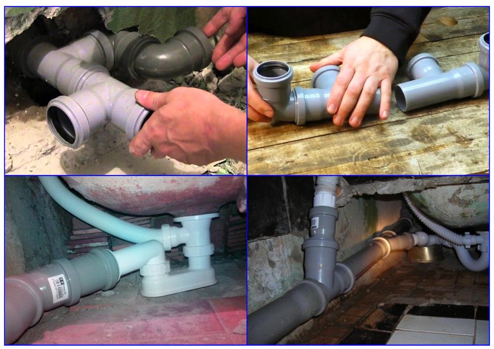 Укладка канализационных пластиковых труб.