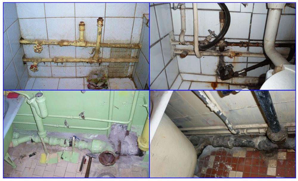 Старые трубы в ванной требующие замены.