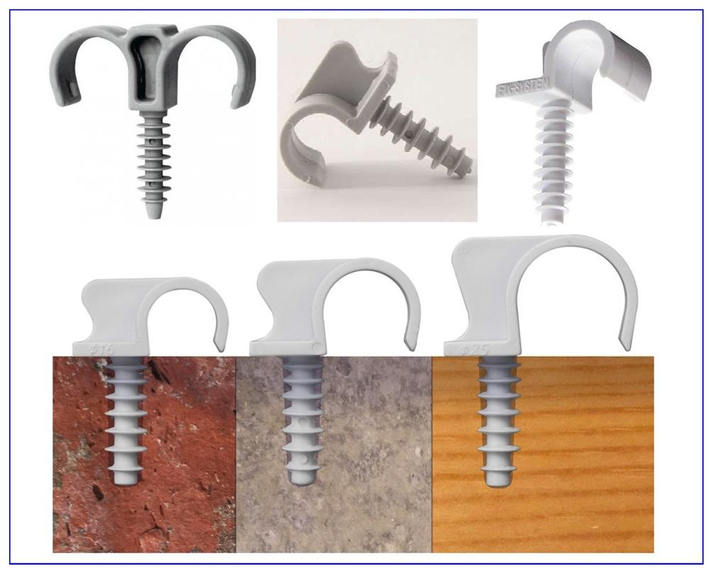 Универсальные клипсы-хомуты со встроенным дюбелем для монтажа на несущей поверхности.