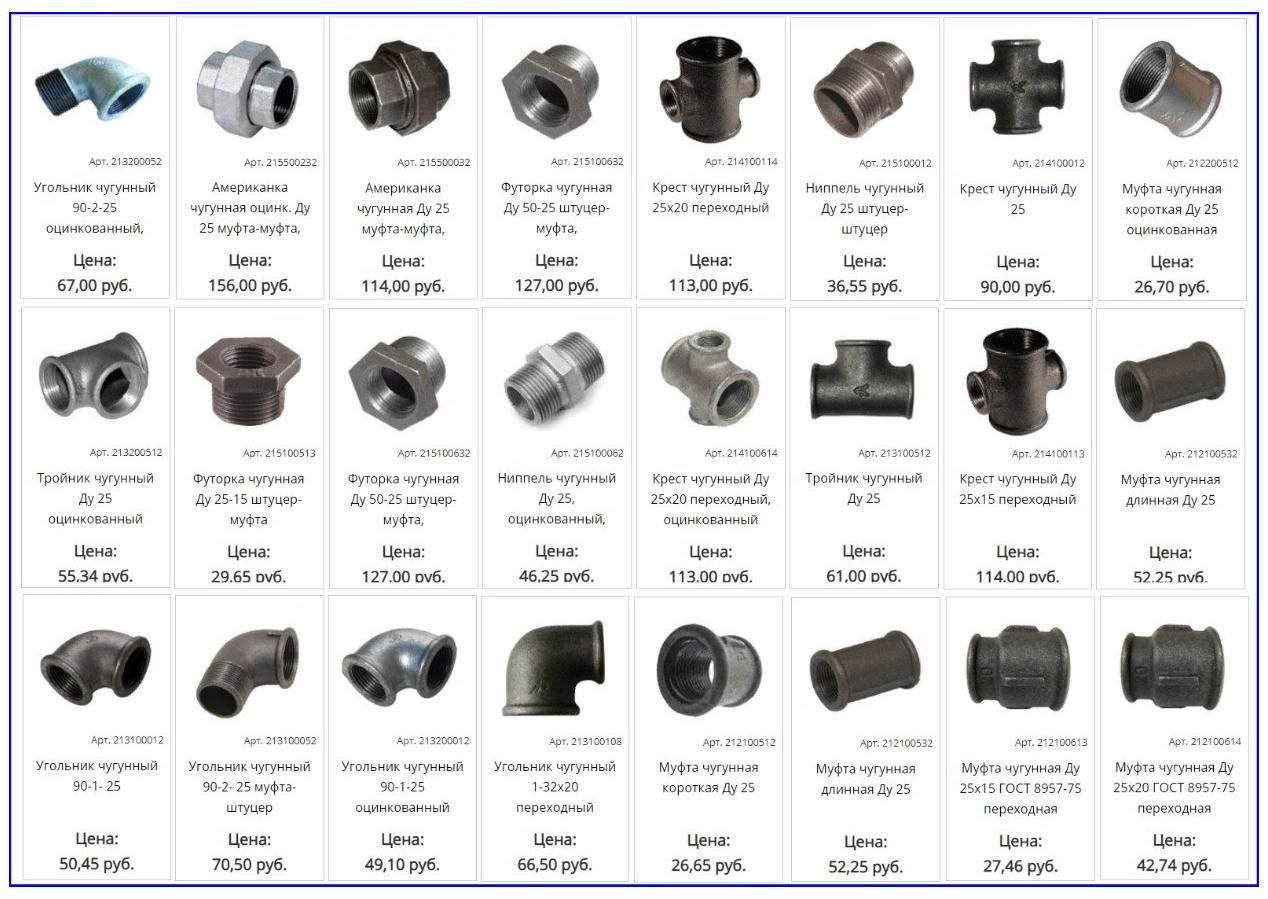 Разновидности чугунных фитингов Ду 25 мм и их стоимость.