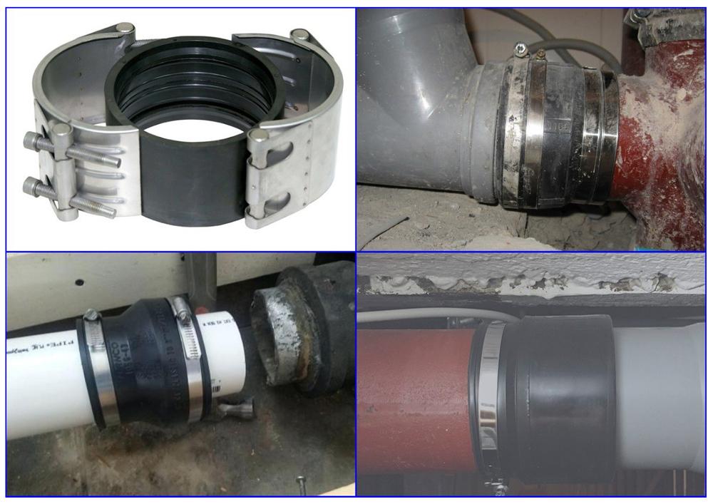 Примеры использования переходных хомутов при монтаже канализационных труб.