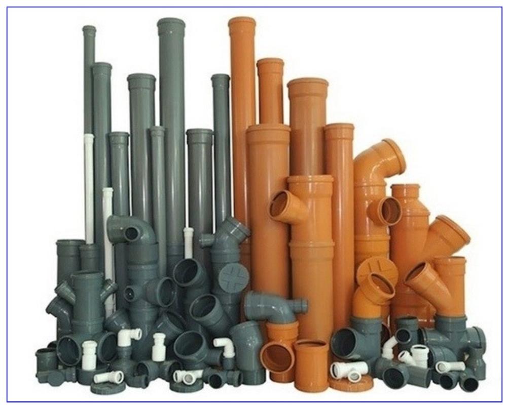 Трубы и фасонные части для труб наружной канализации.