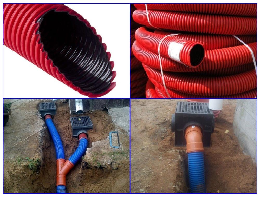 Гофротрубы в системе ливневой канализации.