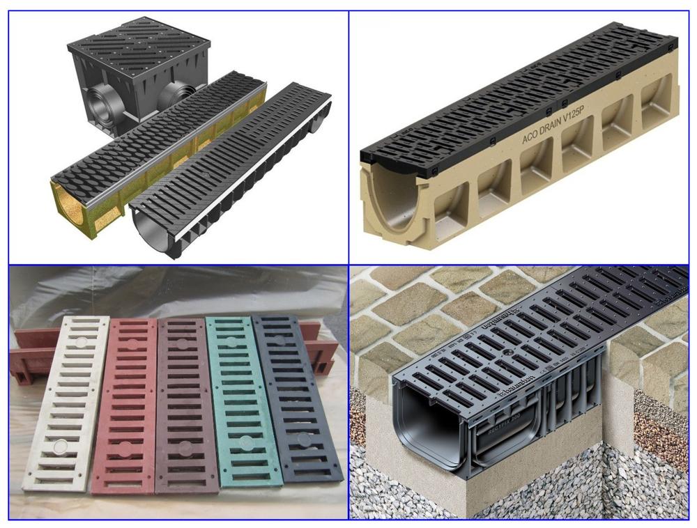 Разновидности полимерных лотков для ливневой канализации.