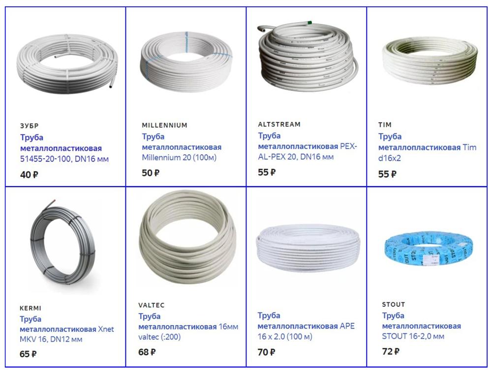 Стоимость металлопластиковых труб.