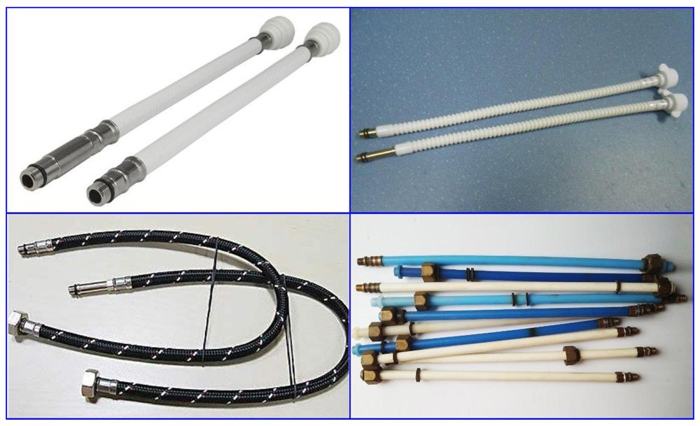 Полимерные шланги для подключения смесителей.