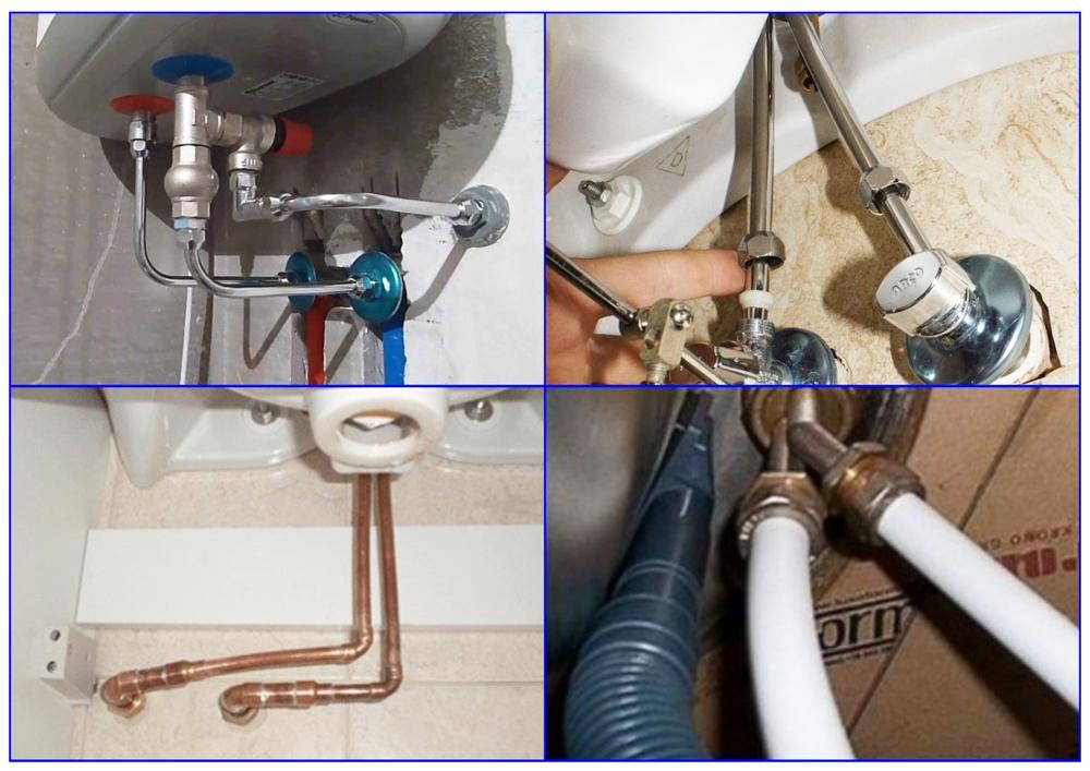 Примеры использования жестких подводок для воды.