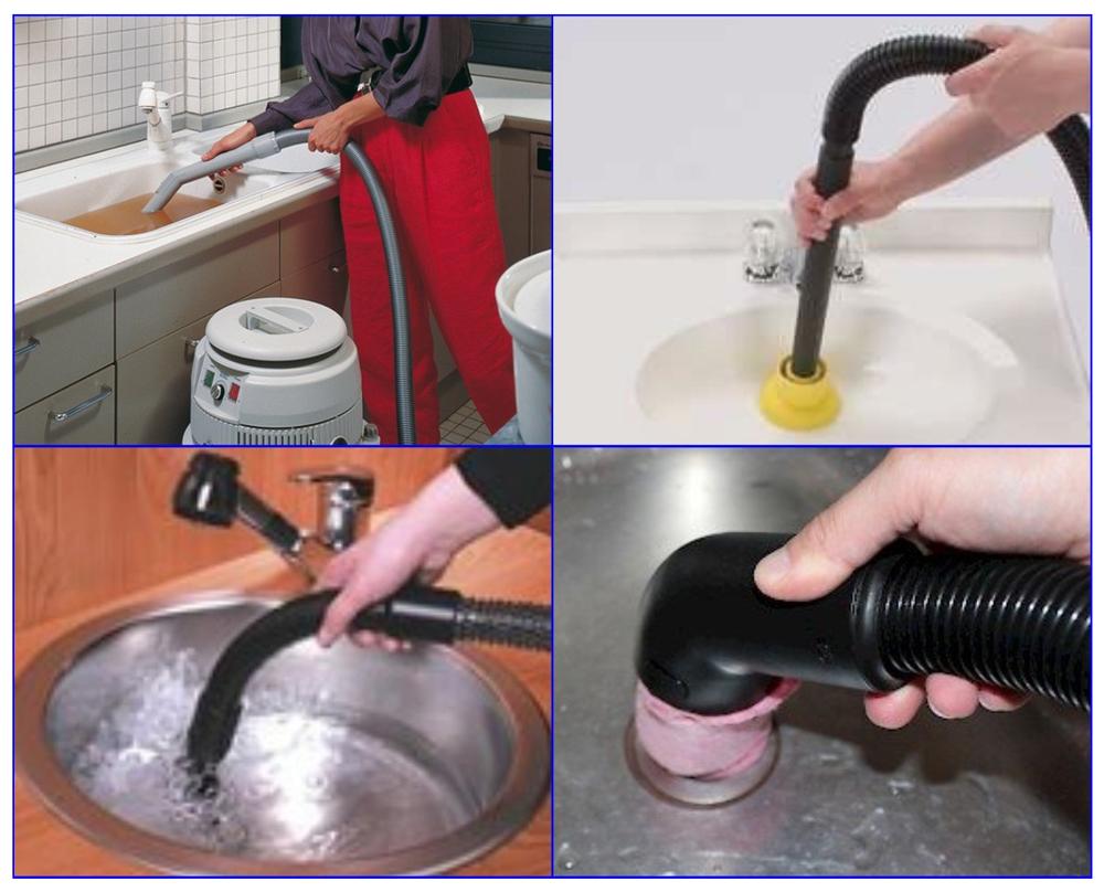 Прочистка канализации при помощи пылесоса.