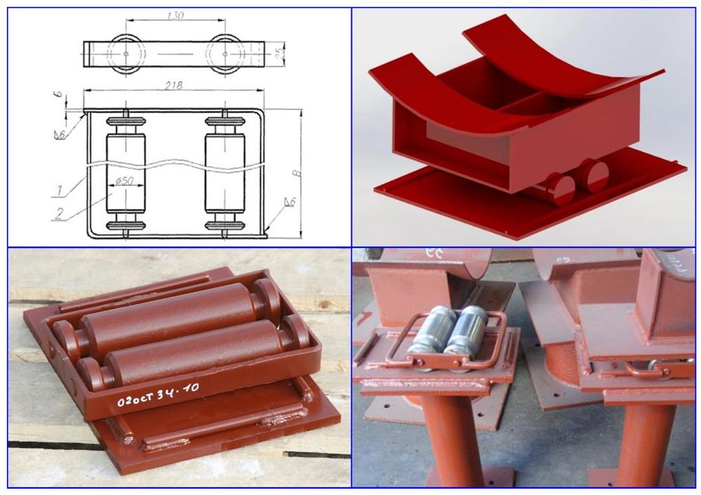 Скользящая опора для трубопроводов - конструкция.