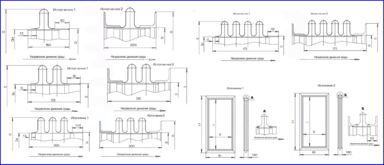 Конструкции и размеры линз под сварку и с фланцами.