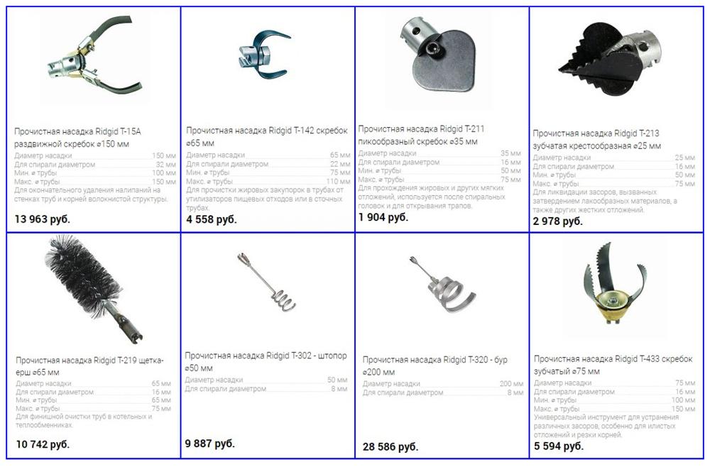 Типы насадок от Ridgid их стоимость и особенности